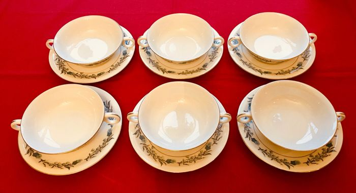 Theodore Haviland - New York - Made in America - Clinton - Bowl, Cups and saucers (12) - Neoclassical - Porcelain