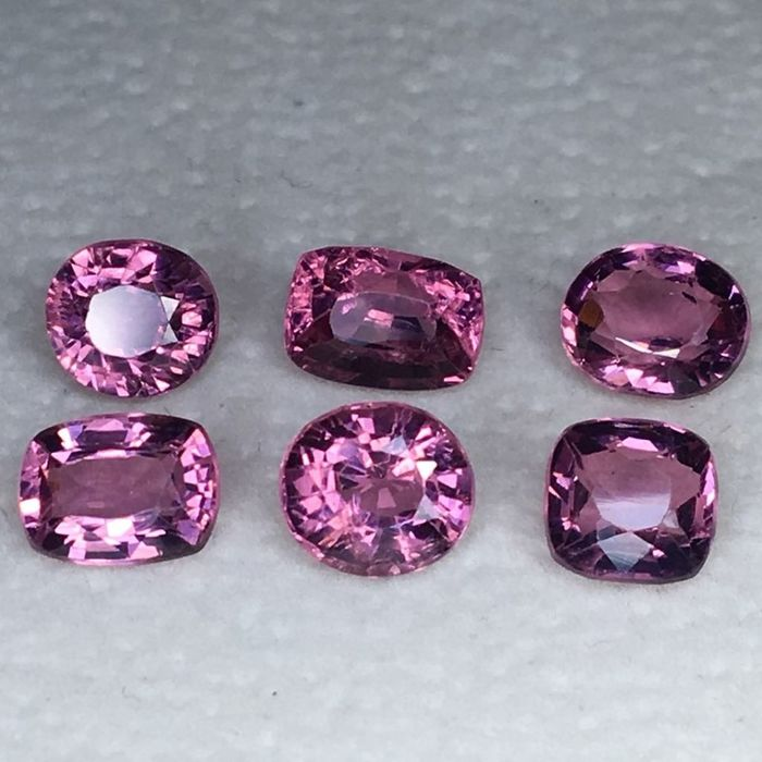 6 pcs Pink, Purple Spinel - 6.20 ct