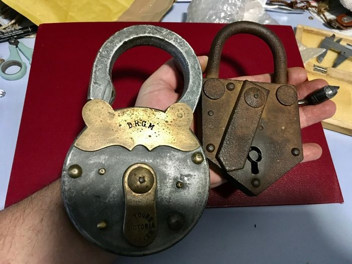 Lot 2 Ancient majestic large padlocks without keys (2)