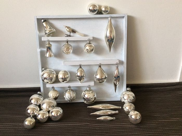 Beautiful old Christmas balls in silver color from very thin glass. (28) - Glass