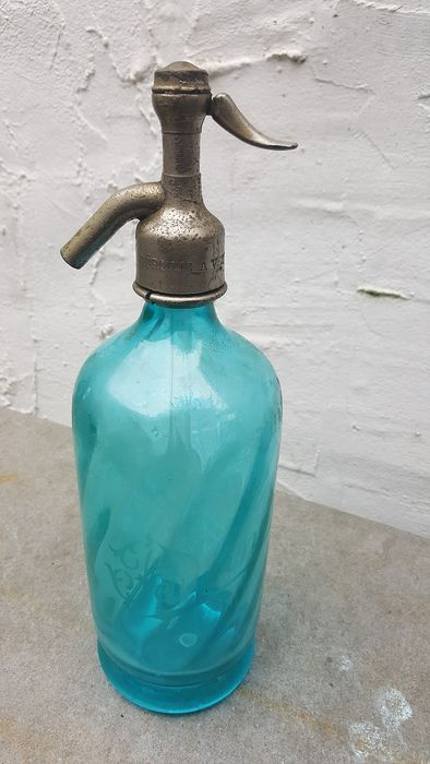 Antique french spray bottle - glass and nickel