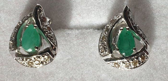 18 kt. White gold - Earrings - 0.25 ct Emerald - Diamonds