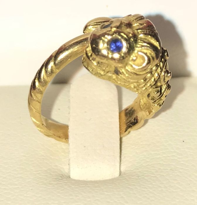 18 kt. Yellow gold - Ring - Sapphires