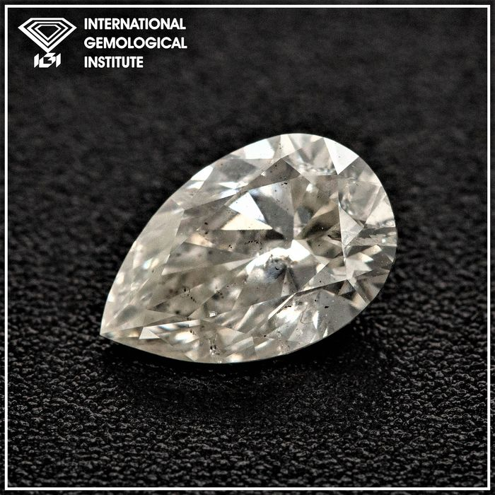 Diamant - 1.03 ct - Poire - I - I1, IGI Antwerp - No Reserve Price