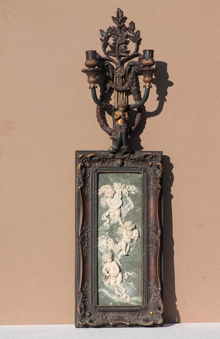 Plaque representation of cherubs with allegorical attributes, among others. of the Arts and 2 - Baroque - wood-metal resin