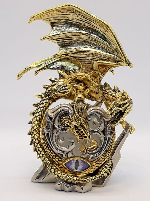 Michael Whelan - Franklin Mint - Guardian of the Dark Dimension - pocket watch with stand - Goldplate