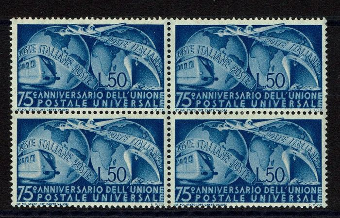Italien Republik 1949 - UPU block of four variety 75c instead of 75° - Sassone N. 599
