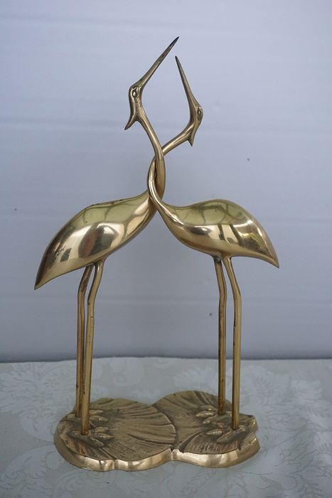 Two cranes - Brass