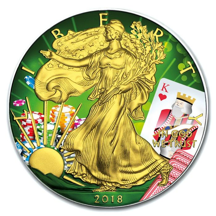 États-Unis - 1 Dollar 2018 Silver Eagle - Poker King of Hearts Color Colored - 1 Oz - Argent