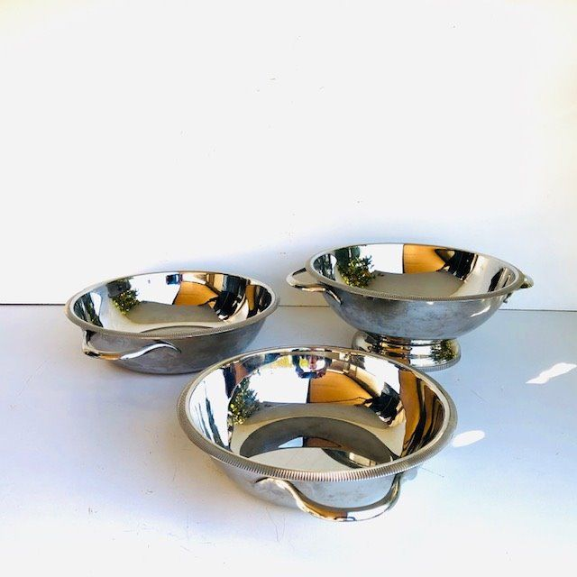 L&R - Soup bowl and bowls with pearl rim (3) - Steel (stainless)
