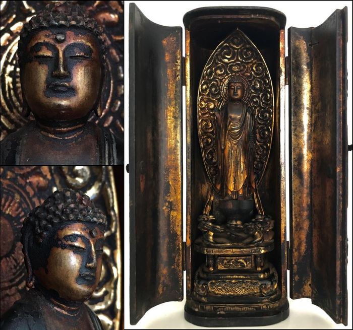 Breathtaking Buddhist Butsudan - Gilt wooden altar with Amida Buddha 阿弥陀仏 - Japan - Edo Period (1600-1868)