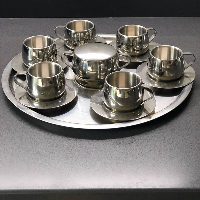 Unic Mann - Alessi - Coffe' Set : 6 cup, 1 coffe' tray and 1 sugar bowl  (1) - Steel (stainless)