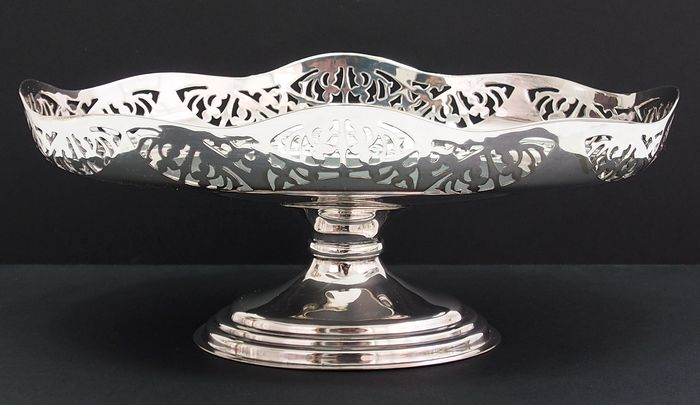 Pierced Fruit Dish On Stand By Sampson Mordan - Silverplate