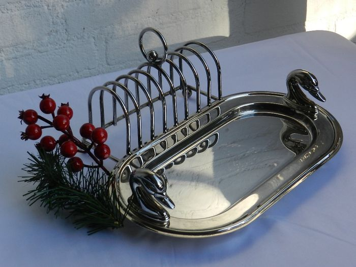Toast rack with scale, swans as handles - Silverplate
