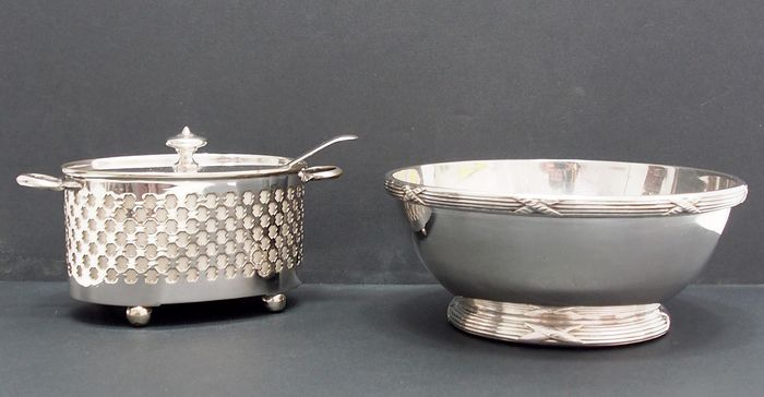 Small Bowl And Mustard Pot By Thomas Wilkinson (2) - Ceramic, Silverplate
