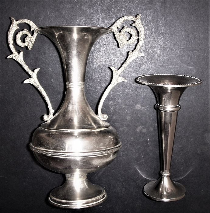 An Antique Amphora Shaped Vase and Single Rose/Trumpet Vase - Silverplate