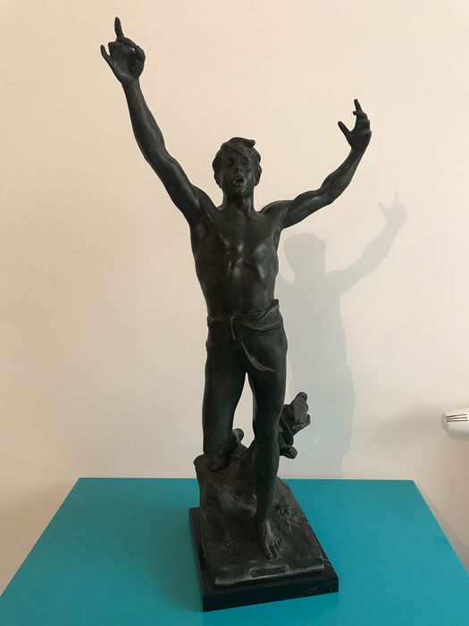 Georges Bareau (1866-1931) - Sculpture, The winner (1) - Spelter - Early 20th century