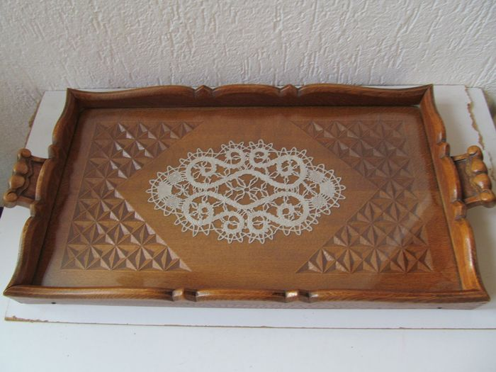 Wooden art deco tray with carving - Art Deco - Wood