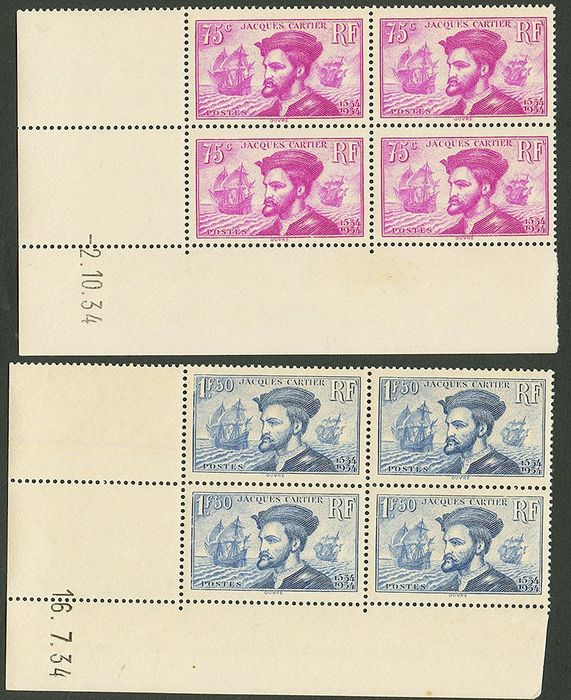 France 1934 - Jacques Cartier, the pair in blocks of 4, dated corner - Yvert 296-297