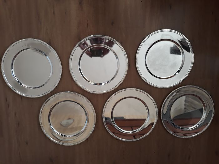 silver plated plates with pearl rim 6 pieces - Silverplate