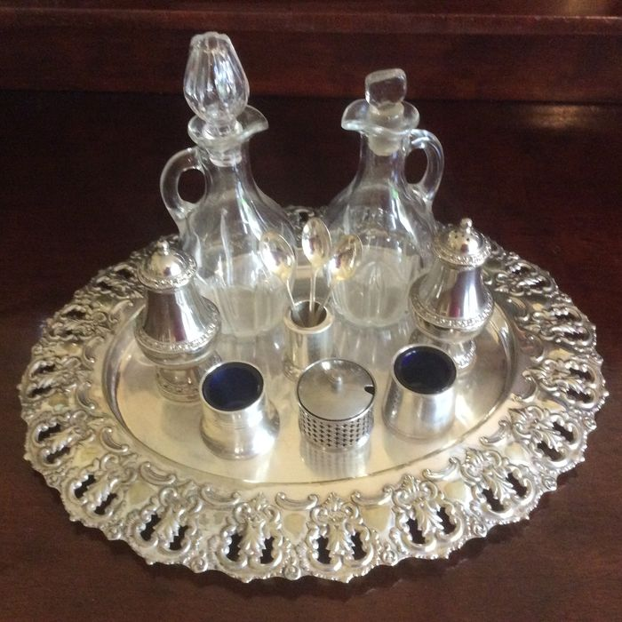 Cruet items with open work tray - Silver plated