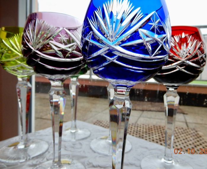 Roman wine glasses, lead crystal, hand cut six different colors in the star cut - Crystal