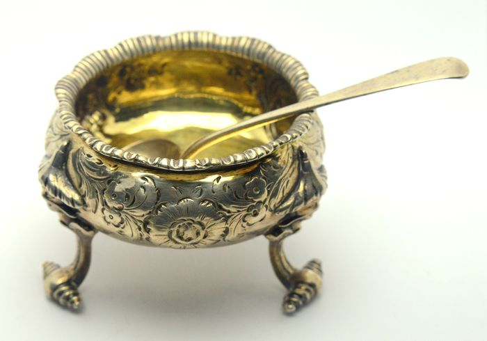 Georgian Salt Cellar with Spoon  - .925 silver - Thomas Ross/William Chawner (II), London - England - 1823