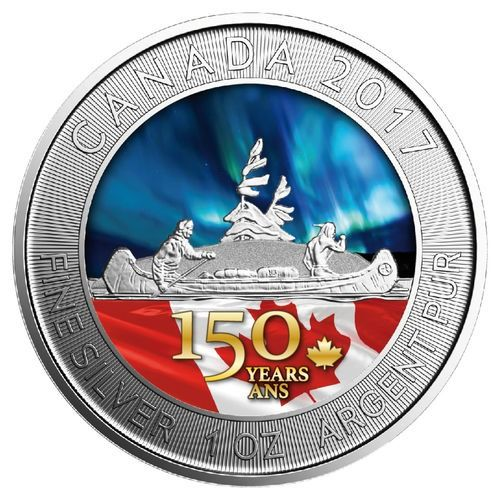 Canada - 5 Dollar 2017 '150 Jahre Voyageur' coloured mit COA - 1 oz  - Silver