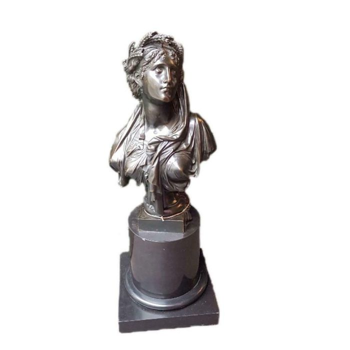 Sculpture, large bust of a Classical female figure, possibly Ceres or Demeter - 58 cm - Bronze, Marble - Second half 19th century