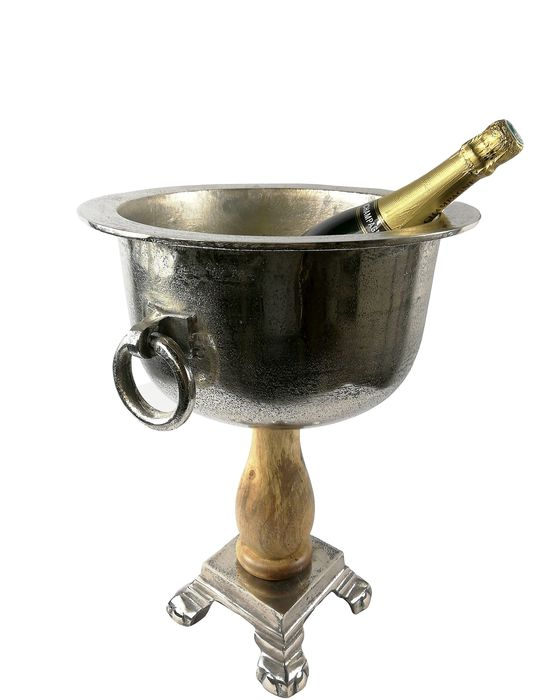 Wine Cooler/Champagne cooler/champagne ice bucket - Aluminium, Wood, Chrome