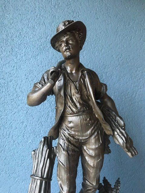 Sculpture, young lumberjack - Spelter, Wood - late 19th century