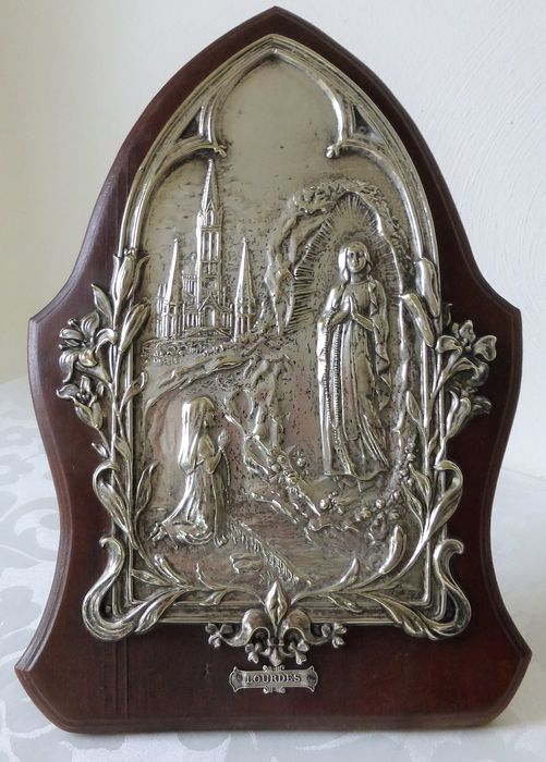 Large plaque on a standard with music box / music box - Silver - Wood