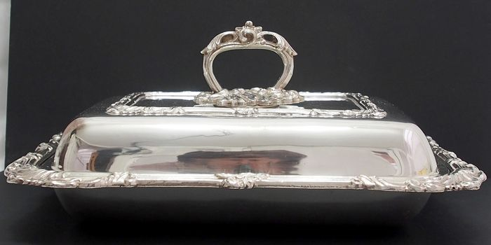 Antique Entree dish Complete With Lid And Twist handle - Silver On Copper