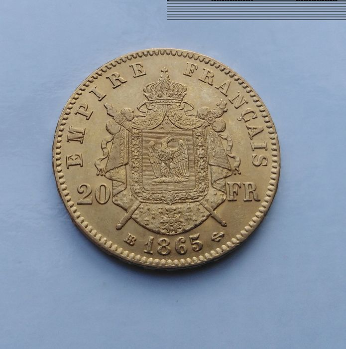 20 Francs 1865-BB Napoléon III - Or