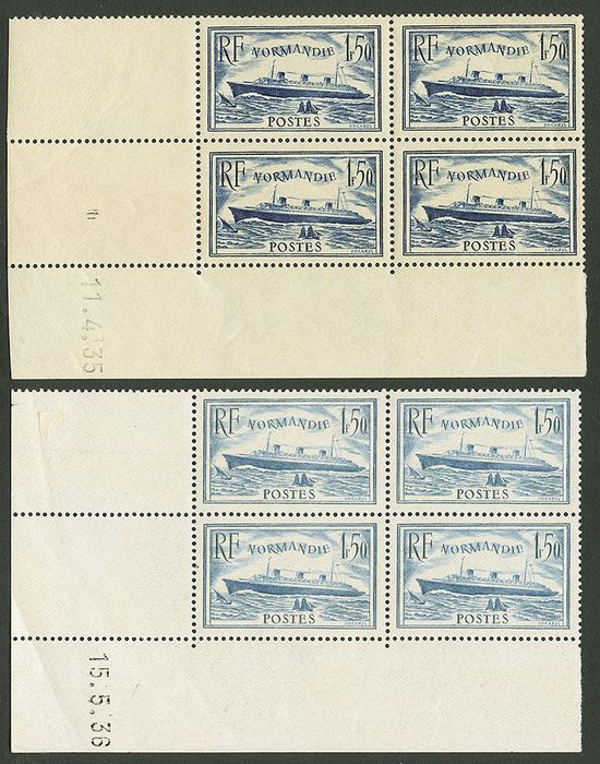 France 1935/1936 - Normandy liner, the pair in blocks of 4, dated corners - Yvert 299-300