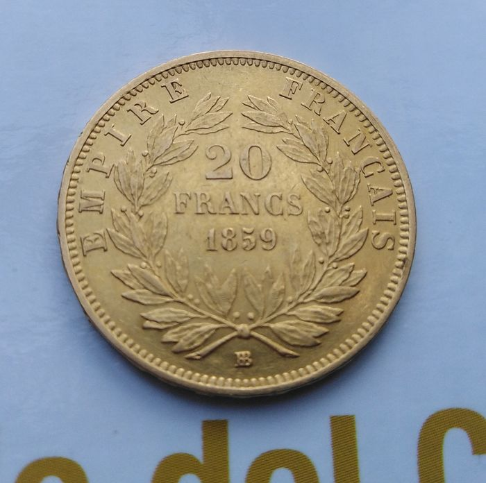 20 Francs 1859-BB Napoléon III - Or