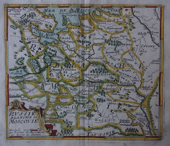 Asia, Rusland, West-Rusland, Moskovië; Jacques Peeters - Russie, blanche ou Moscovie - 1692