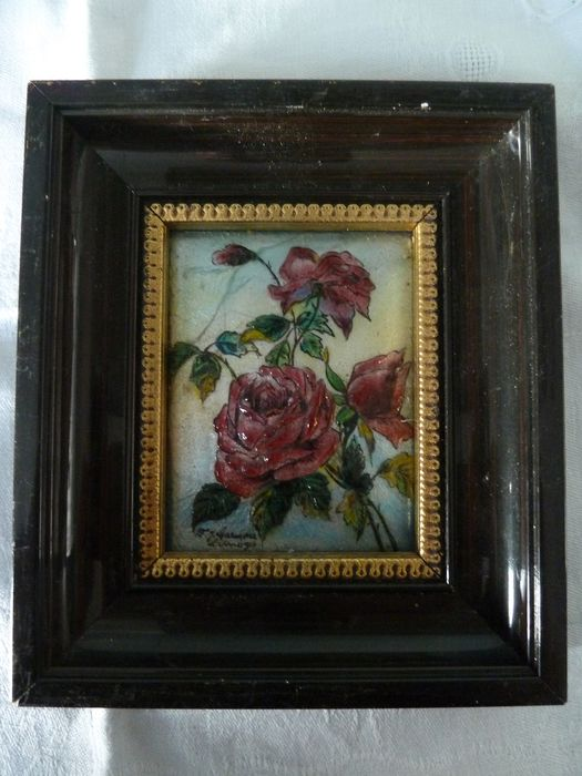 Limoges email frame signed Carmona handmade (1) - wood copper email