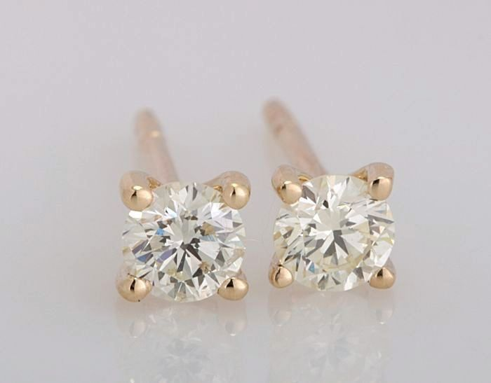 14 kt. Yellow gold - Earrings - 0.40 ct Diamond