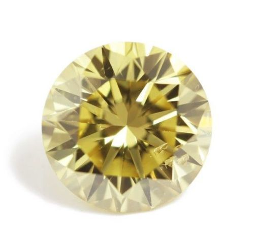 1 pcs Diamond - 0.36 ct - Round  - fancy intens yellow - Not mentioned on certificate