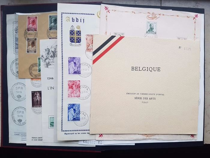Belgia - Collection of commemorative pages with first day cancels