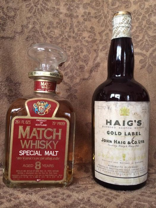 Match 8 years malt - Haig's Gold Label spring cap - Burn Brae Ltd., John Haig & Co. Ltd. - b. 1970s - 750ml