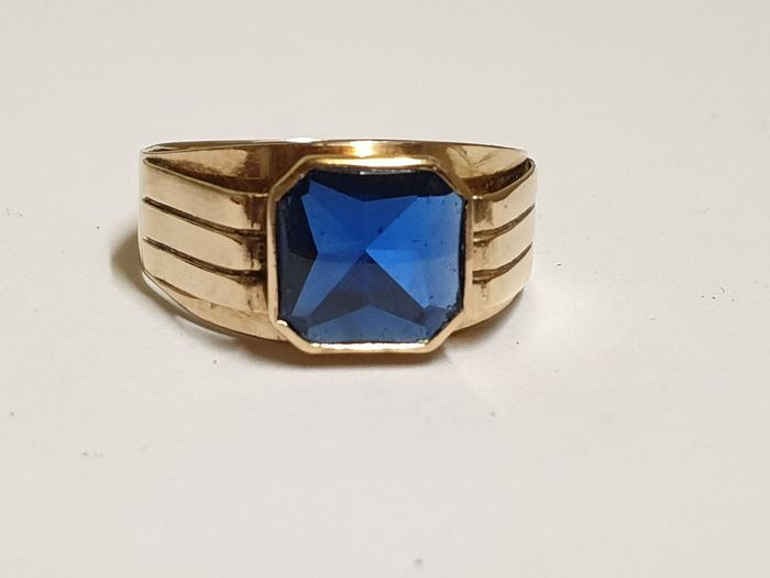 14 kt. Yellow gold - Ring Blue spinell