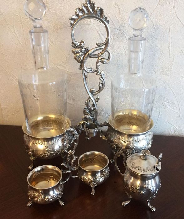 Very Rare Sterling Silver Condiment Set Minerva 950/1000 Punch and Hallmark - .950 silver - Louis Coignet (1893/1928) à Paris - France - Late 19th century