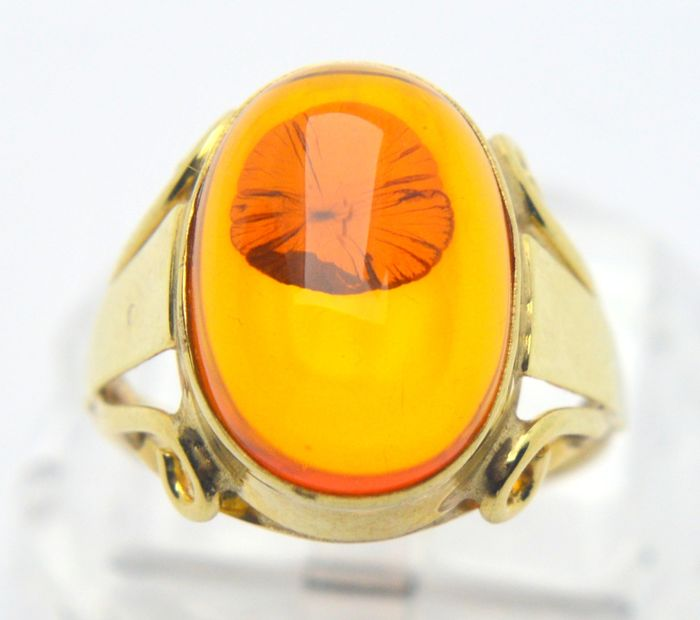 333 Or jaune - Bague - 5.00 ct Ambre