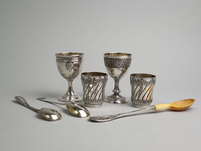 Egg cup, Goblet, Spoon, 19th century silver necklace (7) - .950 silver - France - Second half 19th century