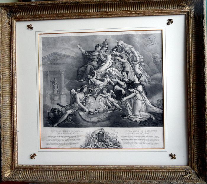 Birth of Madame Royale; 19-12-1778, Versailles - framed litho (without glass) - 18th century