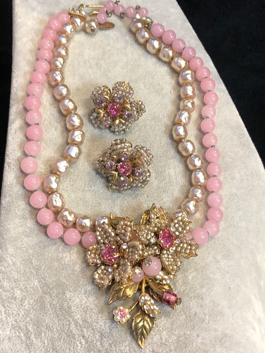 Gold-plated - Miriam Haskell rare necklace and earrings