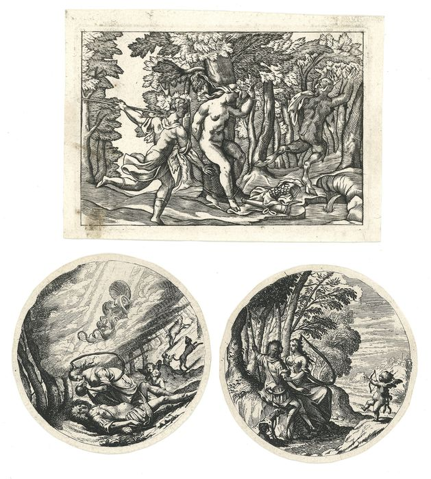 Anonymous, Italian or French - 3 Prints:Mythological scene with Satyr; two from series with cupid, man and woman