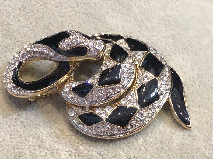 Gold-plated - Large Atwood and Sawyer snake brooch